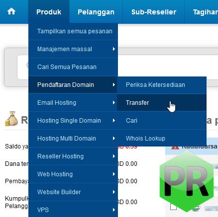 Cara transfer domain ke ResellerClub melalui panel kontrol