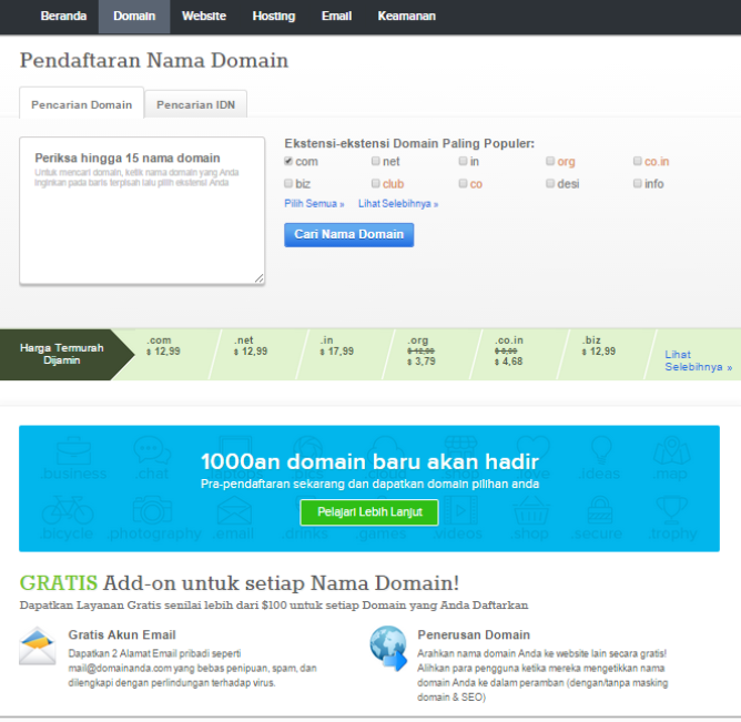 halaman pencarian nama domain supersite resellerclub