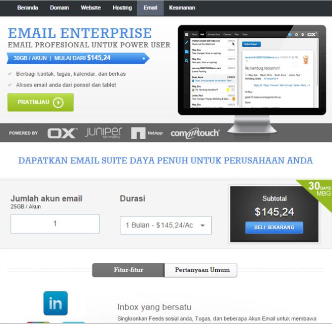 halaman produk email enterprise di supersite resellerclub