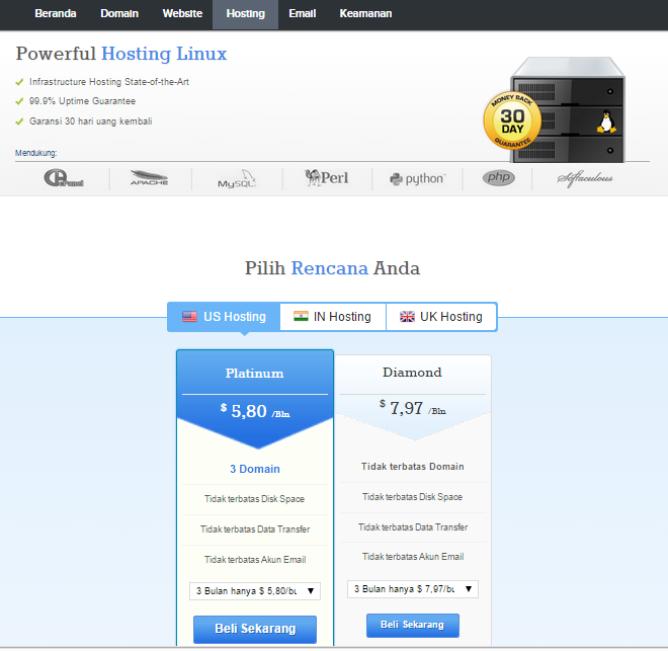 halaman produk hosting linux di supersite resellerclub