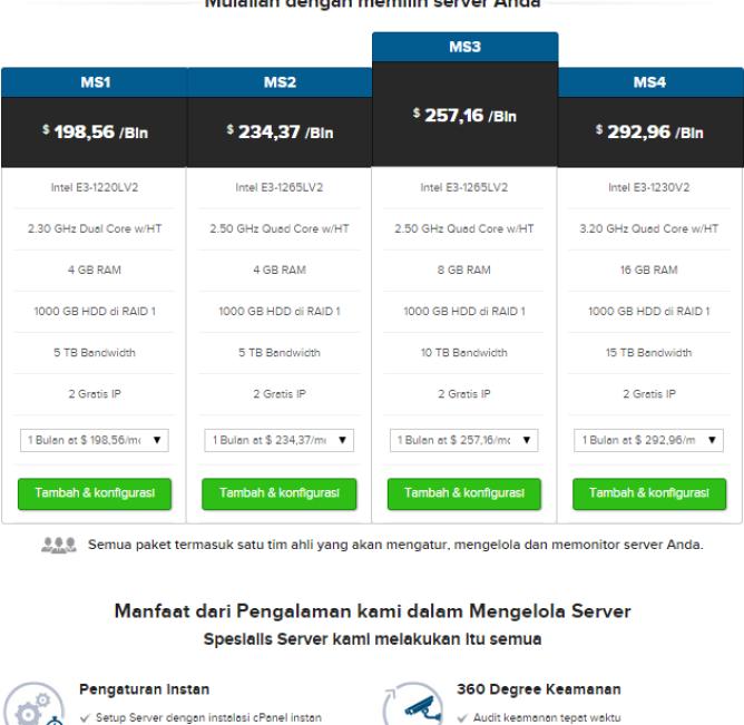 tabel harga server di supersite resellerclub