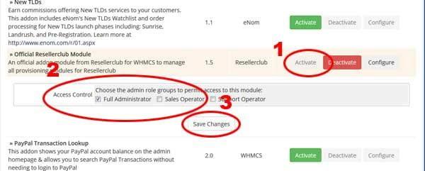 aktifasi module whmcs resellerclub